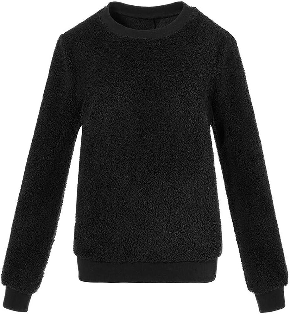 Blouses for Women,Plush Sweater Imitation Lambskin Round Neck Long Sleeve Blouse