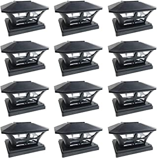iGlow 12 Pack Black Outdoor Garden 6 x 6 Solar SMD LED Post Deck Cap Square Fence Light Landscape Lamp PVC Vinyl Wood