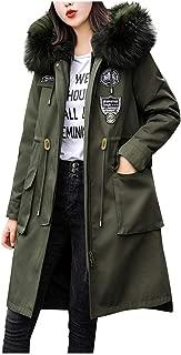 Dainzuy Women's Parka Faux Fur CollarJacket Warm Ladies Winter Coats Button Long Down Outerwear Overcoat with Hooded