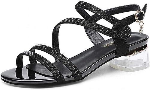 LTN Ltd - sandals Plage Romaine Sandales à Talons épais Femmes Strass D'été avec des Chaussures de Printemps des Femmes, Noir, 36
