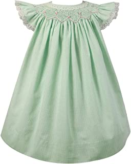 Petit Ami Baby Girls' Angel Wing Smocked Dress with Bloomer, Mint