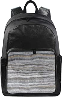 Women/Men Bookbag Abstract Marble Surface Casual Canvas Backpack School Rucksack for Students