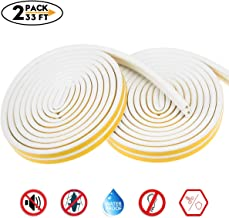 Weather Stripping for Door,Insulation Weatherproof Doors and Windows Soundproofing Seal Strip,Collision Avoidance Rubber Self-Adhesive Weatherstrip,2 Pack,Total 33Feet Long (White