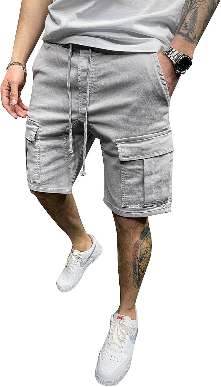 Mens Casual Cargo Shorts Pockets Drawstring Black Pants Fit Solid Color Shorts