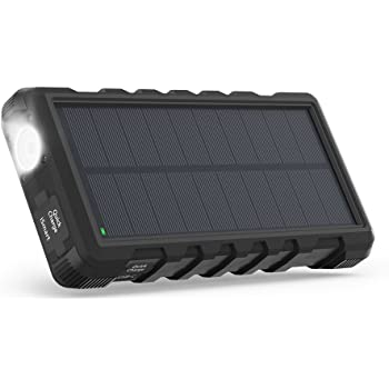 RAVPower Chargeur Solaire Portable 25000mAh avec Entrées Micro-USB & Type-C, Batterie Externe avec Trois Sorties & Lampe Torche, Antichocs & Étanche Compatible avec iPhone, iPad, Galaxy, Android, etc.