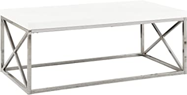 Monarch Specialties Modern Coffee Table for Living Room Center Table with Metal Frame, 44 Inch L, Glossy White / Chrome