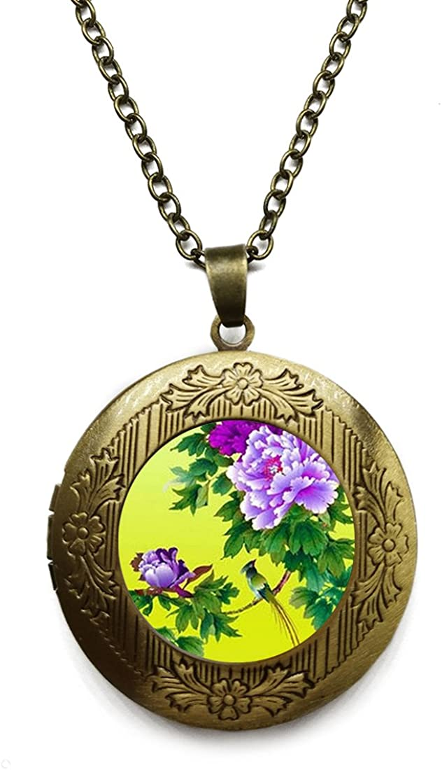 Vintage Bronze Tone Locket Picture Pendant Necklace Bright Color Flower Included Free Brass Chain Gifts Personalized