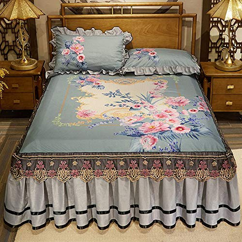 GCC fluwelen bedrukte bedrokken, Chinese stijl dubbele sprei lakens, met kussensloop anti-slip en anti-vouw bed rokken, met vier hoek riemen