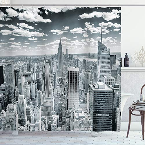 """Ambesonne New York Shower Curtain, NYC Over Manhattan from Top of Skyscrapers Urban Global Culture City Panorama, Cloth Fabric Bathroom Decor Set with Hooks, 70"""" Long, Grey"""