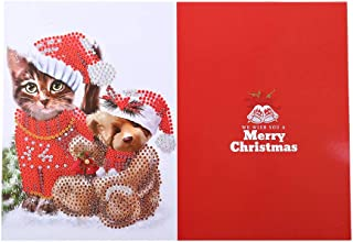 Christmas Greeting Cards Kits with Envelope, MAMaiuh DIY 5D Diamond Painting Cartoon Thank You Card Embroidery Rhinestone Painting Cross Stitch Kit Pictures of Crystals (C)