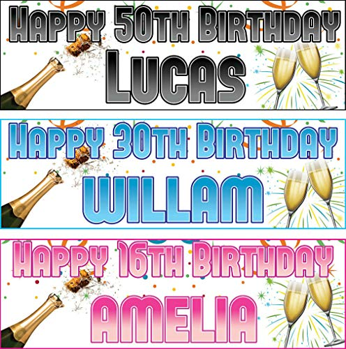 Personalised Outdoor Birthday Banner Champagne Adults Party Poster (Approx 2ft x 6ft)-18th,21st,30th, 40th,50th,60th,70th