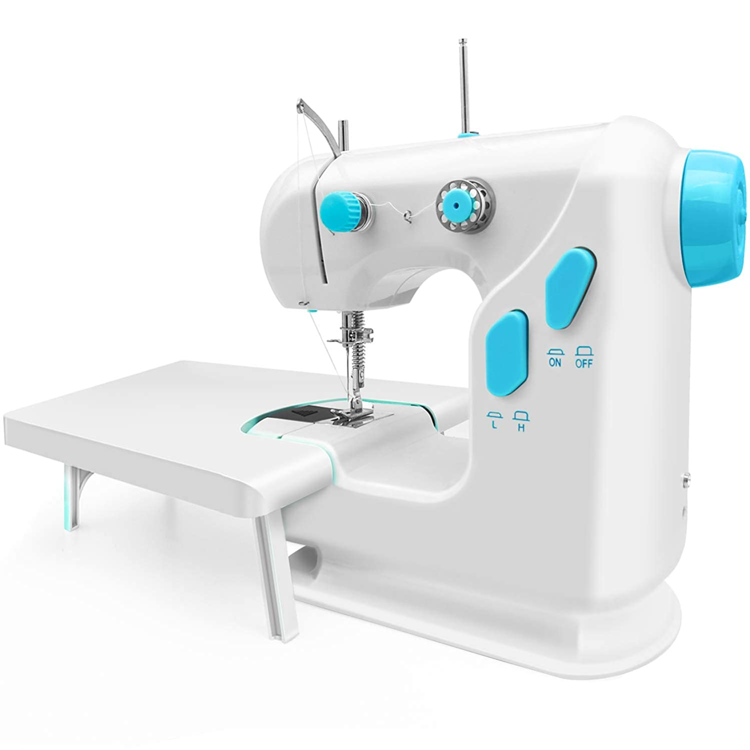 Mini Beginner Sewing Machine, Built in Metal Hook Tip, Portable Adjustable 2-Speed Sew Machine with Extension Table and Foot Pedal Kit