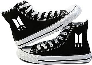 Teblacker 1 Pair BTS Sneakers, Kpop Bangtan Boys Rap Monster, JIN, SUGA, J-Hope, Jimin, V, JUNG KOOK Canvas Shoes for Kids, Teens, Women, Men and Lovers