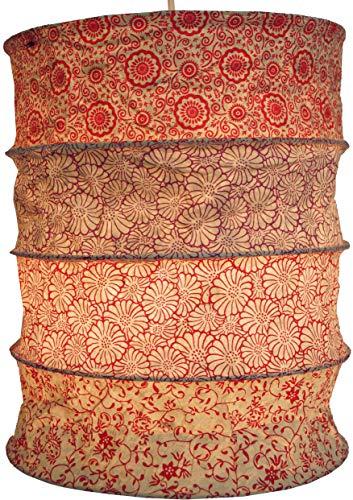 Guru-Shop Runde Papier Hängelampe, Lokta Papierlampenschirm Kailash, Handgeschöpftes Papier - Rot, Lokta-Papier, 35x28x28 cm, Handgemachte Deckenleuchte
