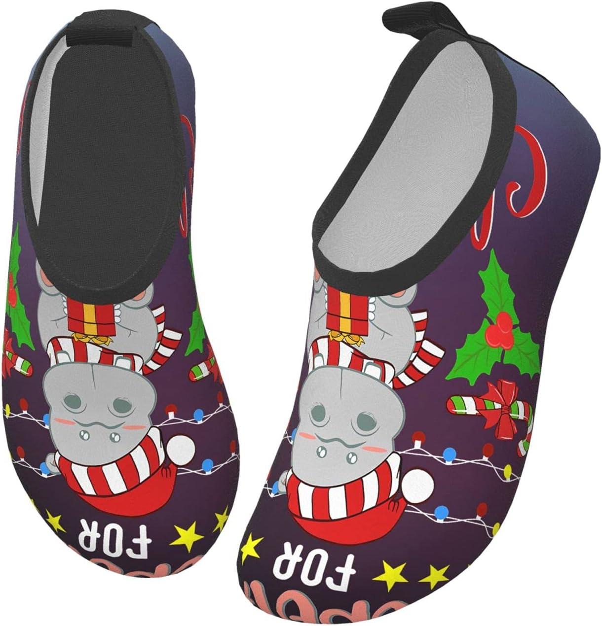 wobzfrok I Want A Hippopotamus for Christmas Kids Water Shoes Girls Boys Toddler Non-Slip Quick Dry Aqua Socks for Beach Swim Walking 28/29