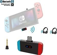 Friencity Transmisor Bluetooth para Nintendo Switch PS4 PC, Conector USB Tipo C Adaptador de Audio inalámbrico Compatible con Voz en el Juego, APTX Baja latencia Enlace Dual a Auriculares para Juegos