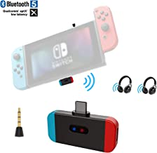 Friencity Bluetooth Audio Transmitter Adapter for Nintendo Switch, Aptx Low Latency USB Type C Connector Support in-Game Voice& Dual Link, Compatible with Airpod, Bose, PS4, Sony Headphone, Plug&Play