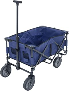 Azuma Multi Purpose Folding XL Heavy Duty Wagon Trolley Collapsible Cart Blue Utility Transport Trailer With Pull Handle F...