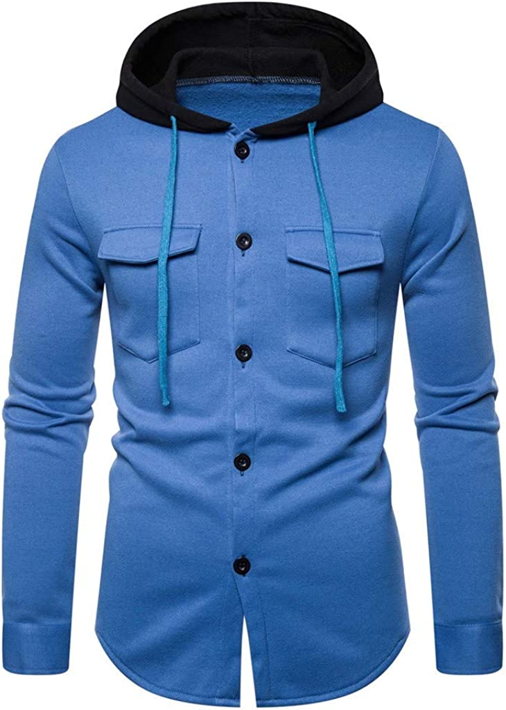 Maryia Men's Fleece Pullover Hoodie Autum Winter Long Sleeve Shirts Casual Button Down Outwear Tops Blouse