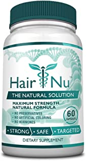 HairNu Natural Hair Growth Solution / Dietary Supplement, 1 Bottle – 60 Capsules