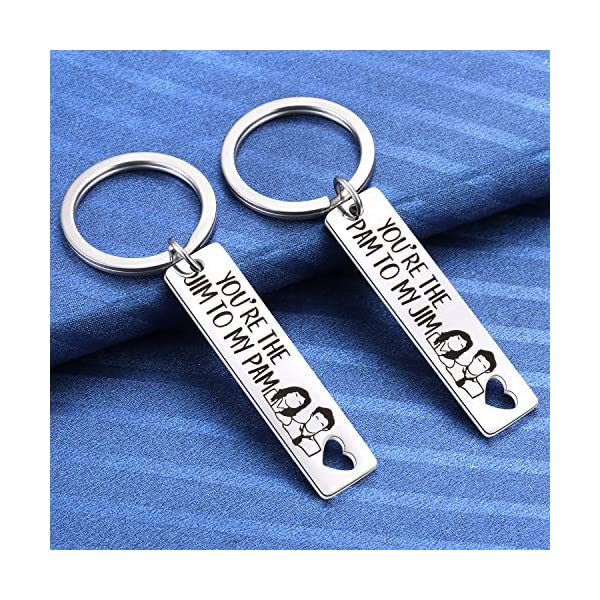 2pcs You are The Pam to My Jim Keychain You are The Jim to My Pam Necklace The Office TV Show Inspired Gifts for Couples Wedding Anniversary Birthday Valentines Christmas Stocking Stuffer