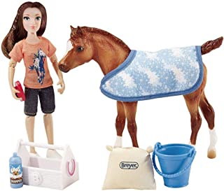 "Breyer Classics Bath Time Fun Doll & Pony Activity Set (1:12 Scale), 8.75"" x 3.25"" x 7.25"", Multicolor"