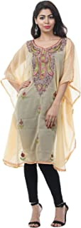 Odishabazaar Women's Georgette Kashmiri Kaftan Loungewear Tunic Top Cover up