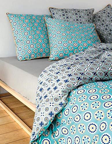 Cflagrant® Bettbezug 220 x 240 cm für Doppelbett + 2 Kopfkissenbezüge 65 x 65 cm, 100 % Baumwoll-Satin, 120 Fäden/cm², große Marke (Daniel Hechter Micromotif)