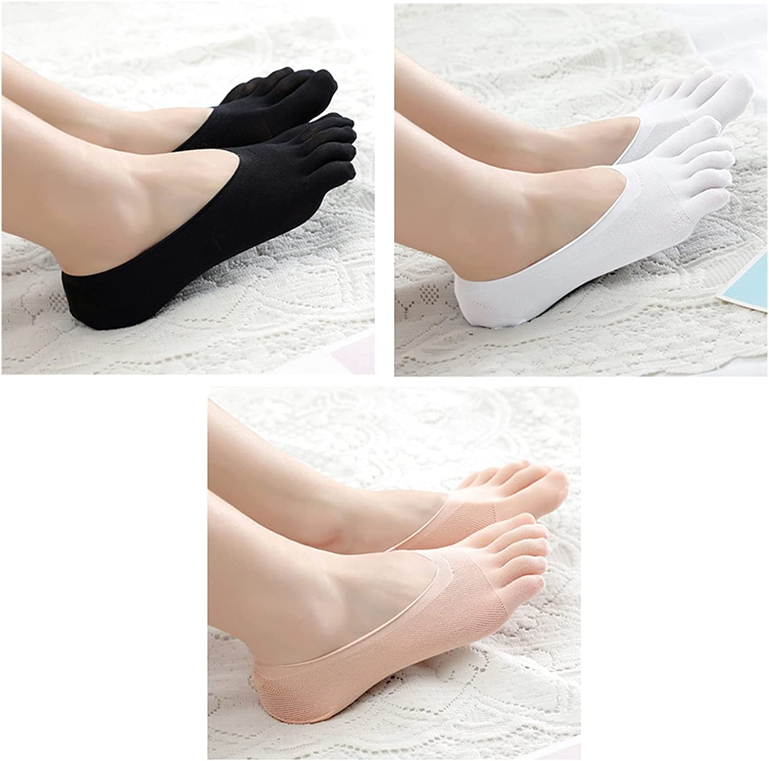 CHENGCHAO Sock Women Summer Five-Finger Socks Female Ultrathin Sock Funny Toe Invisible Silicone Anti-Skid Anti-Friction Movement (Color : White Black Pink, Size : 1 Pair)