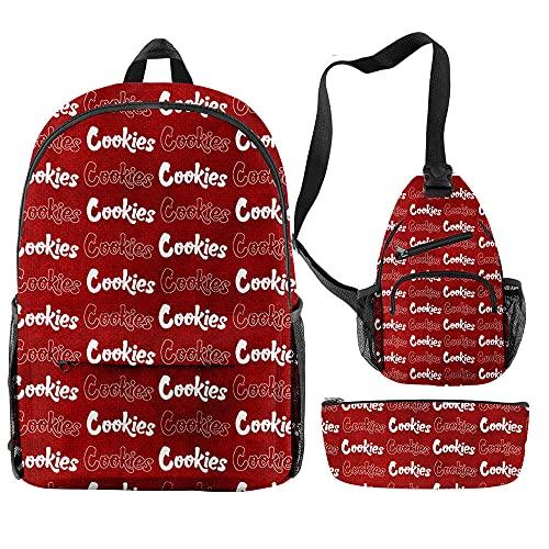 Conjuntos de Mochilas para Hombres y Mujeres 3 Piezas Cookie Teenager Boys Girls Mochilas Escolares Mujeres Hombres Oxford Streetwear Impermeable Bolsas de Viaje-Rojo