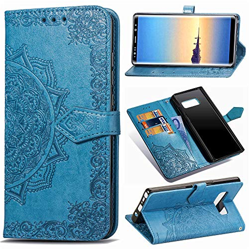 Funda para Samsung Galaxy Note 8, Carcasa Libro con Tapa Flip Case Antigolpes Golpes Cartera PU Cuero Suave Soporte con Correa Cordel - Mandala Azul