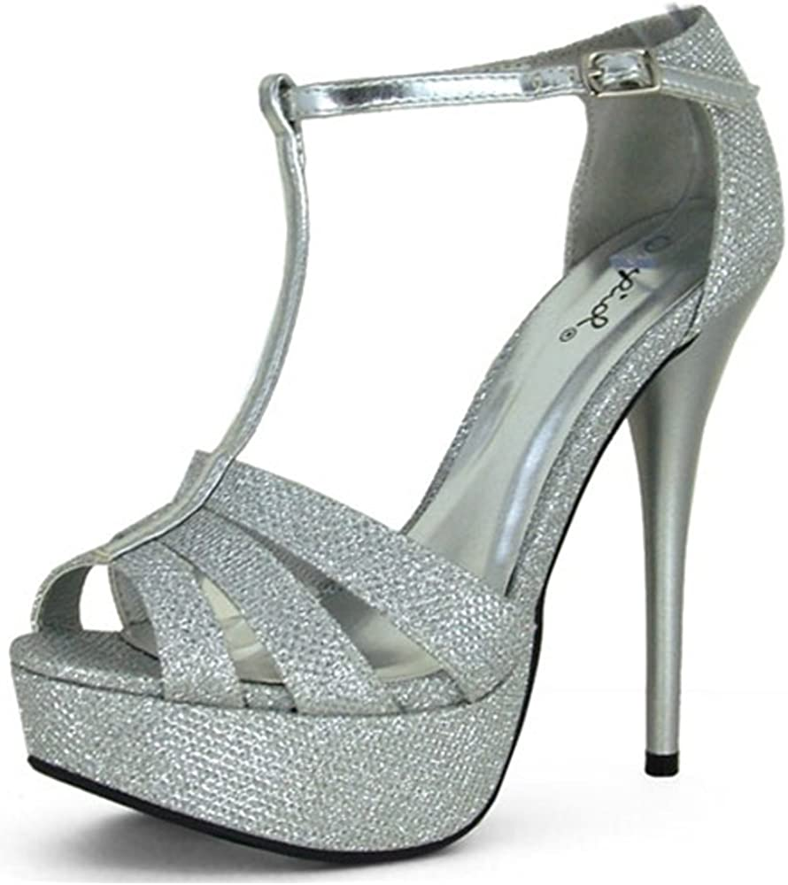 Details about  /New Women Qupid Avalon-145 Metallic PU Peep Toe Strappy Platform Stiletto Sandal