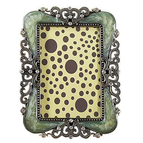 Minfenjia 7-Zoll-Metall-Fotorahmen Retro-Verkrustete Brautkleid Foto Posen Für Familie Fotorahmen