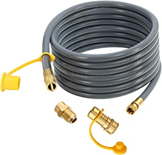 Upgraded 24 Feet 1/2 Inch ID Natural Gas Hose with 3/8 Inch Female Flare by 1/2 Inch Male Flare Adapter, Quick Connect Dis...
