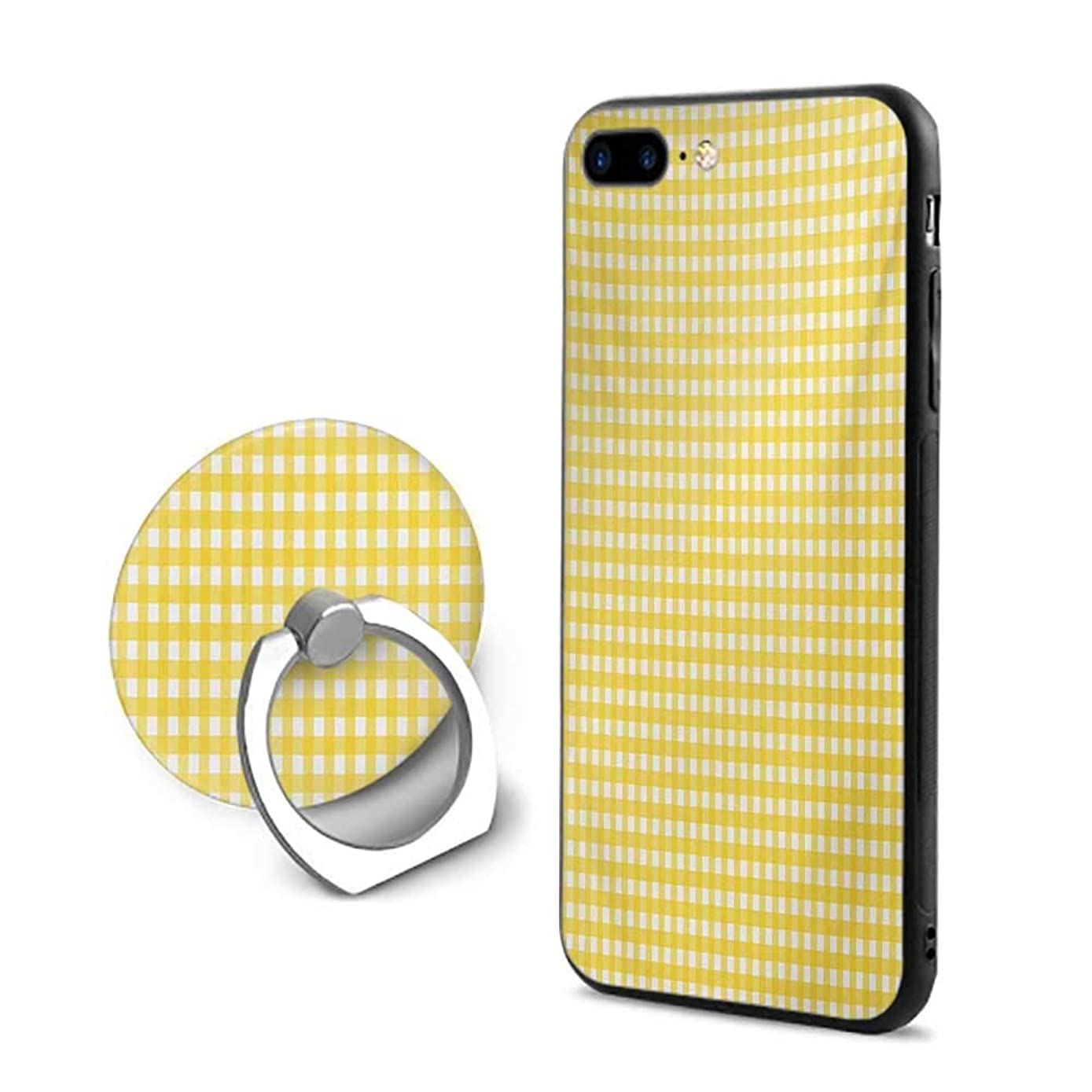 Checkered Tablecloth iPhone 7 Plus/iPhone 8 Plus Cases,Classic English Pattern in Yellow Picnic in Summertime Theme Retro Striped Yellow White,Design Mobile Phone Shell Ring Bracket