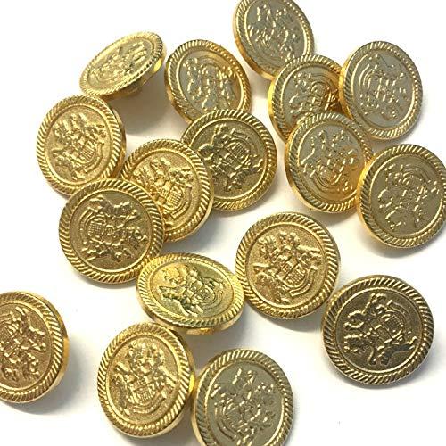 10 Goud Metalen Wapen Blazer Manchet Knoppen, 15mm Rond