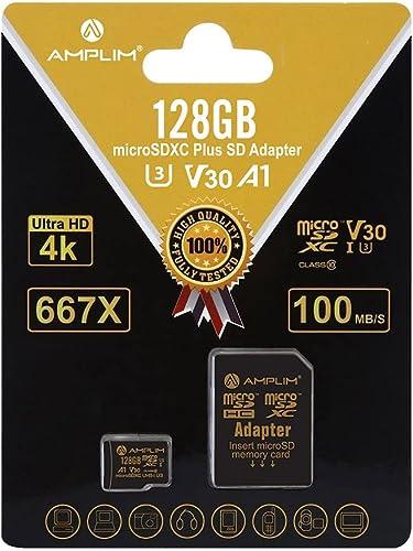 128GB Micro SD SDXC V30 A1 Memory Card Plus Adapter Pack (Class 10 U3 UHS-I MicroSD XC Extreme Pro) Amplim 128 GB Ult...