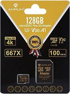 128GB Micro SD SDXC V30 A1 Memory Card Plus Adapter Pack (Class 10 U3 UHS-I MicroSD XC Extreme Pro) Amplim 128 GB Ultra Hi...