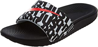 Nike Kid's Kawa Slide Print GS PS, Black/Bright Crimson-White, Youth Size 6