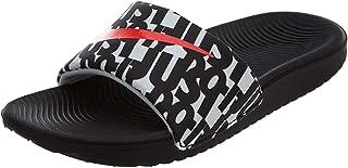 Nike Kid's Kawa Slide Print GS PS, Black/Bright Crimson-White, Youth Size 5
