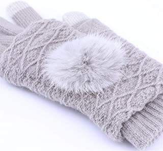 CHENGYUXINTAI Winter Gloves Women's Winter Velvet Touch Screen Gloves (Color : Gray, Size : One Size)
