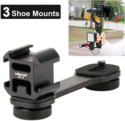 Ulanzi PT-3 Triple Cold Shoe Mounts Plate Microphone Led Video Light Extension Bracket Microphone Stand Rig Bracket C...