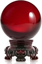 Amlong Crystal 3 inch (80mm) Red Crystal Ball with Redwood Lion Resin Stand and Gift Box for Decorative Ball, Lensball Photography, Gazing Divination or Feng Shui, and Fortune Telling Ball