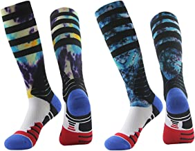 Basketball Socks, J'colour Unisex Cushioned Digital Print Knee High Team Sports Football Socks 1,2,3,6 Pairs