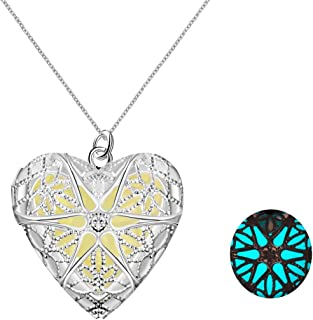 Yellow Chimes Glow-in-the-dark Heart of Atlantis 925 Silver Plated (Hallmarked) Locket cum Pendant for Girls and Women (Y...