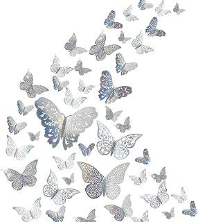 48Pcs Butterfly Decorations, Creatiee 3D Wall Decals|Metallic Art Sticker, DIY/Handmade/Removable/Pressure Resistance Pape...