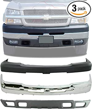 Amazon Com New Front Bumper Face Bar Chrome Upper Cover Lower Valance Air Deflector Textured With Tow Hook And Fog Light Holes For 2003 2006 Chevrolet Silverado 2500hd 3500hd Direct Replacement 15139804 Automotive