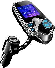 VicTsing Manos Mibres Transmisor FM Bluetooth Coche Sin Instalacion, Reproductor mp3 Mechero Coche, Emisor FM para el Coche, USB Cargador con Audio de 3.5mm Mic Puerto, Ranura para Tarjeta del TF