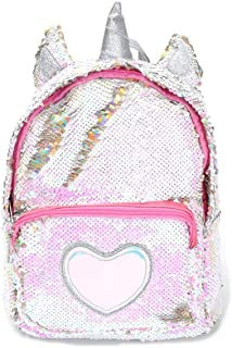 Unicorn Sequin Backpack Glitter Shining Bag Lovely Heart Casual Travel Daypack For Girls (Silver)