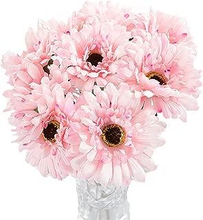 Htmeing 10 pcs Sunbeam Artificial Flower Mum Gerber Daisy Bridal Bouquet Silk Wedding Party Decoration (Light Pink)